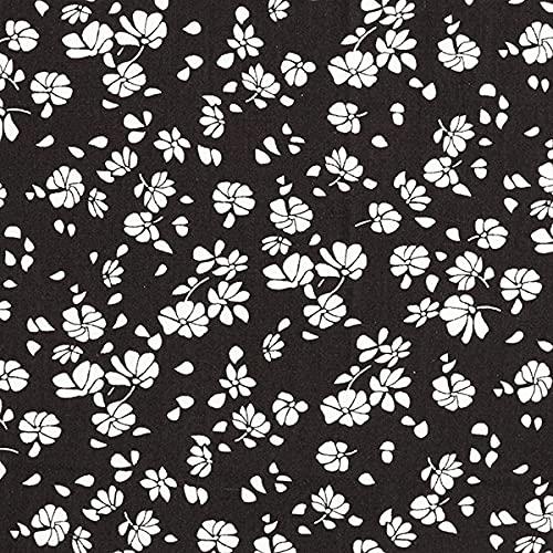 Blusenstoff Viskose Abstrakte Blüten – schwarz/weiss — Meterware ab 0,5m — zum Nähen von Blusen/Hemden, Kleider und Tuniken
