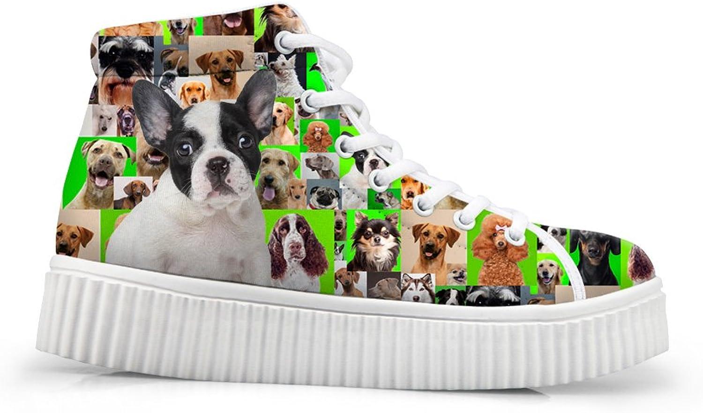 HUGS IDEA Dogs Pattern Cute Women's High Top shoes Platform Sneakers