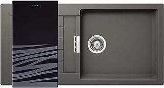 SCHOCK hochwertige Küchenspüle 100 x 50 cm Signus D-100L Silverstone - CRISTADUR graue Spüle mit Abtropffläche ab 60 cm Unterschrank-Breite