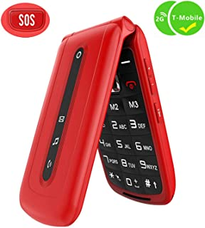 Ushining Flip Phone Unlocked SOS Button Dual Card Dual Standby 2G T-Mobile Flip Phone Large Button Large Volume Easy to Use Senior Phone (Red)