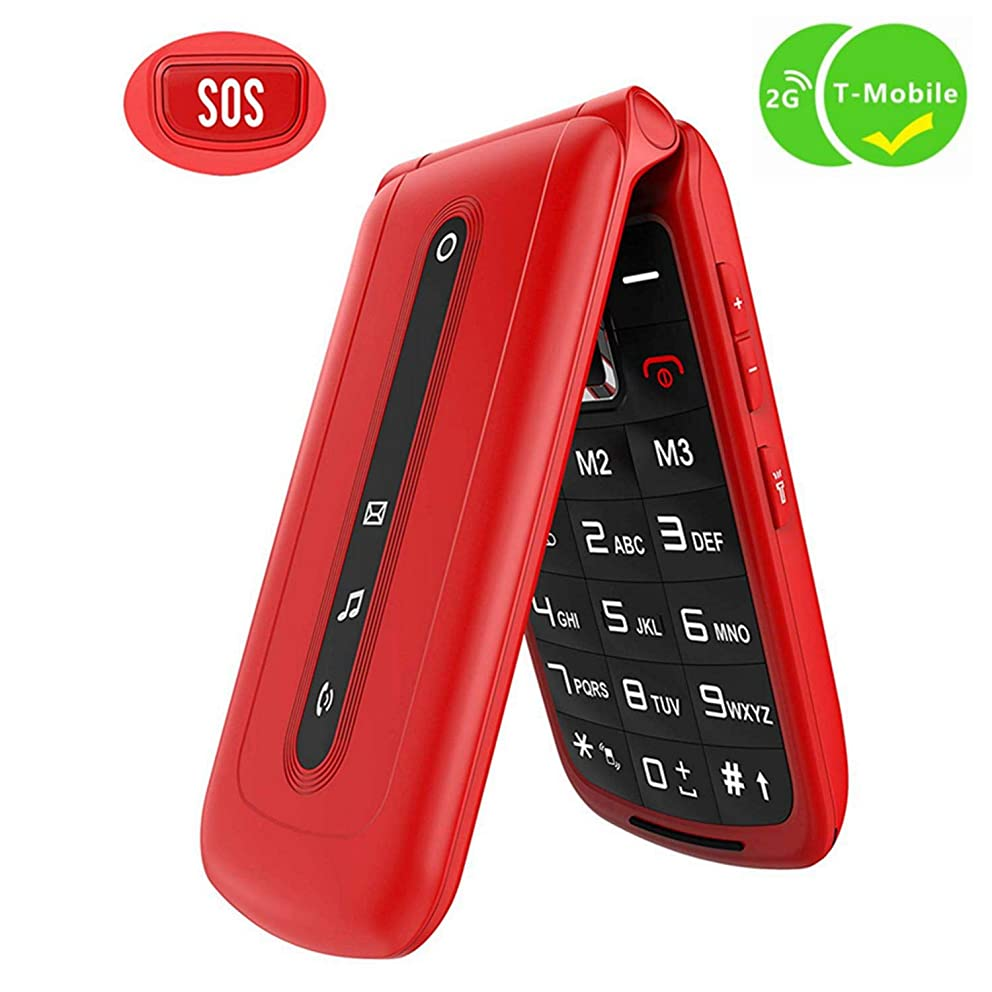 Ushining Flip Phone Unlocked SOS Button Dual SIM Card Easy to Use Unlocked Flip Cell Phone Large Button Large Speaker Design Only for 2G T-Mobile (Red)