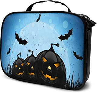 Cosmetic Bag Halloween Pumpkin Bats Makeup Bag Lightweight Portable Cosmetic Case Water Resisted Cosmetic Makeup Bag Durable Organizer Makeup Boxes With Insulated Pockets For Travel
