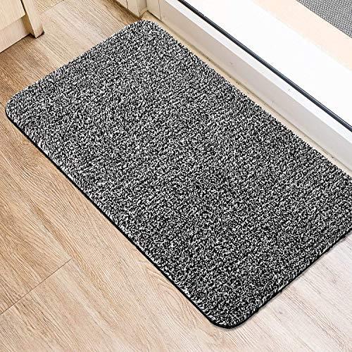 HOUSE DAY Fußmatte Sauberlaufmatte Schmutzfangmatte Fußabtreter Eingangstürmatte Türmatte Innenbereich rutschfest Waschbar Grau Aus Baumwolle Mikrofaser mit Gummirückseite 45x75CM