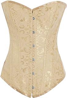 Alivila.Y Fashion Corset Women's Sexy Brocade Vintage Corset Bustier 810-Cream-L