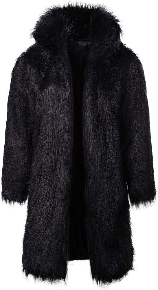 RedBrowm Mens Winter Warm Thick Coat Overout Jacket Faux Fur Parka Outwear Cardigan Black