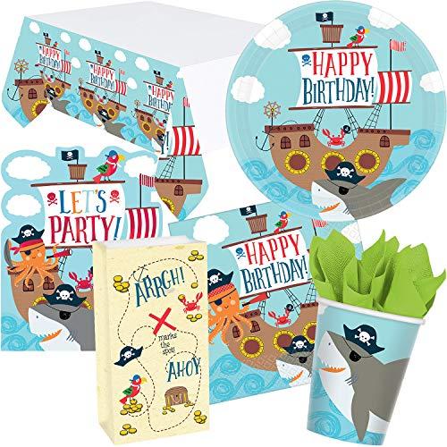 101-tlg. PARTY SET * AHOY * für Kindergeburtstag mit 8 Kinder: Teller + Becher + Servietten + Einladungen + Tischdecke + Partytüten + Luftschlangen + Luftballons | Ahoi Pirat Kinderpiraten Seeräuber