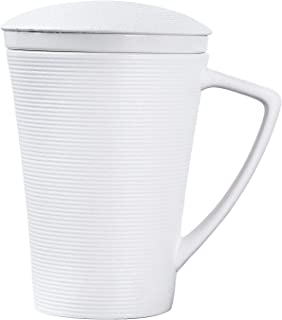 AMOI Ceramic Tea Cup, Cups with lid,Tea infuser mug, Infuser for Steeping, White tea cup,Hot tea gift set,12 Oz (White)