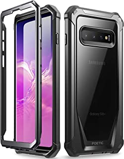 Galaxy S10 Plus Rugged Clear Case, Poetic Full-Body Hybrid Bumper Cover, Support Wireless Charging, Without Built-in-Screen Protector, Guardian Series, Case for Samsung Galaxy S10 Plus 2019, Black