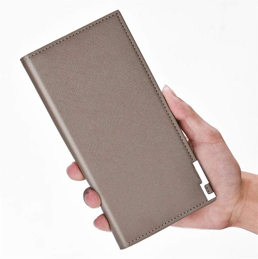 Men's Wallet, bi-fold Men's Wallet, Long Soft Leather Cross Pattern Slim Hand Wallet Purse (Color : Khaki)