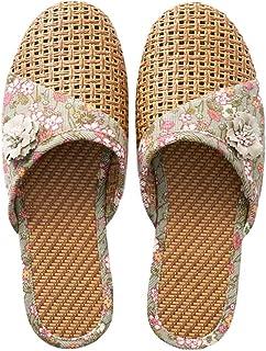 [エリンネ] スリッパ い草 涼しい 通気 春夏用 レディース かわいい造花付き 静音 滑り止め 履きやすい