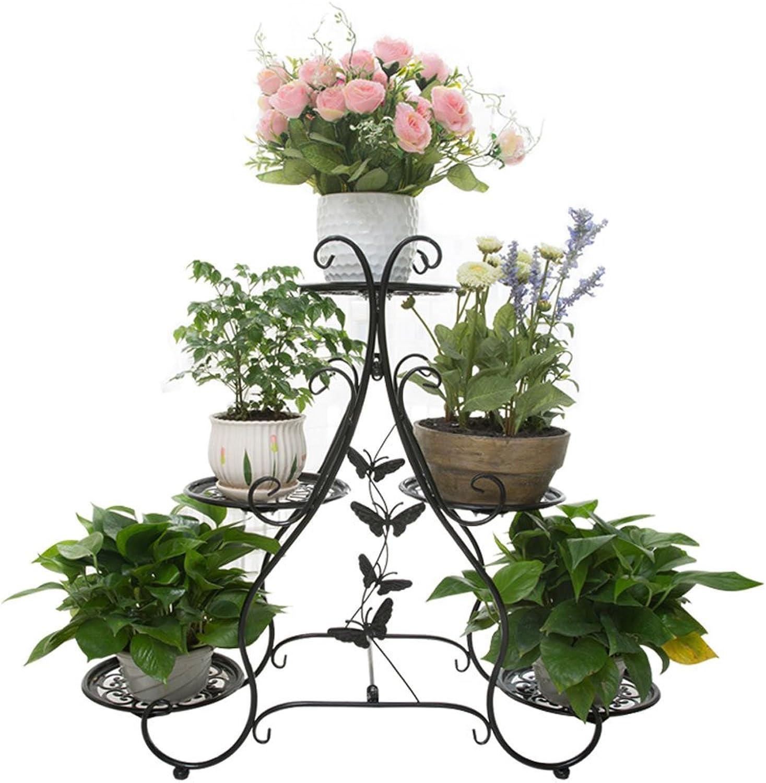 European Thick Metal Flower Stand Shelf Multi-Layer Living Room Floor Balcony Flower Rack Indoor Outdoor Garden Flower Rack (color   Black)