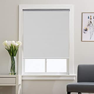 Roller Shade Blackout Shades Window Blinds for Bedroom, Black Out 99% Light & UV, Thermal, Cordless and Easy to Pull Down & Up, White, 31