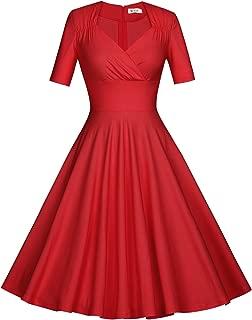 MUXXN Women's 50s Vintage Short Sleeve Pleated Swing Dress