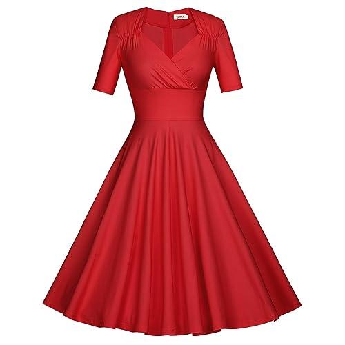 b75ad30c86fc MUXXN Women s 50s Vintage Short Sleeve Pleated Swing Dress White