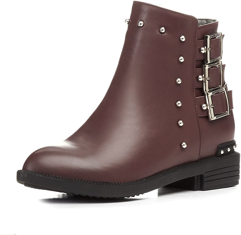 Lucksender Womens Chunky Low Heel Martin Boots