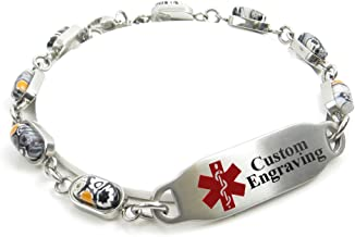 My Identity Doctor Medical Alert Bracelet for Women with Engraving - 5mm Steel & Glass