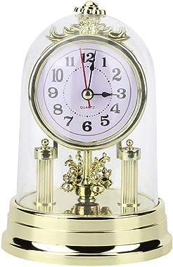nobrands Réveil rétro de Style européen, Horloge de Table de Salon silencieuse Antique décor à la Maison(Or)