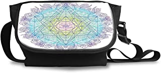 Unisex Crossbody Purse Bags Travel Shoulder Bag,Mandala Round with Sacred Geometry Element Metatron Cube Archaic Alchemy Theme