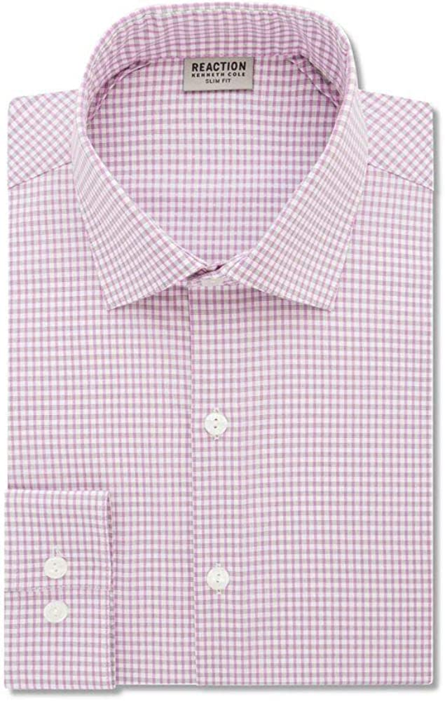 Kenneth Cole Mens Techni-Cole Button Up Dress Shirt Dustypink 16.5