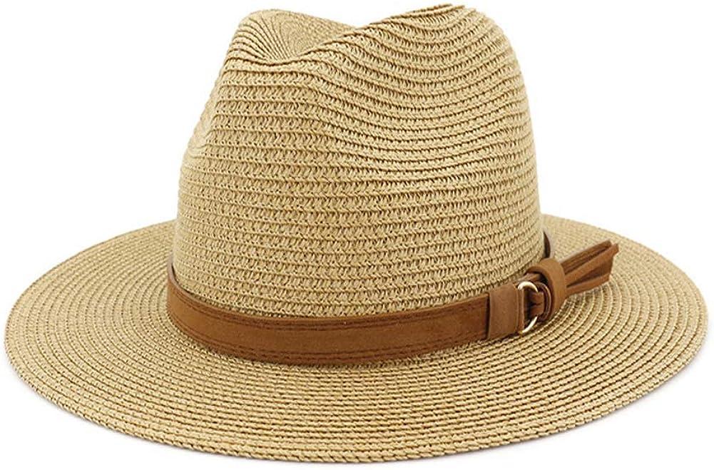 HUDANHUWEI Man and Woman's Wide Brim Straw Panama Hat Fedora Beach Sun Hat with Band