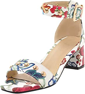 Voberry shoes Women's Summer Printed Sandals Casual Fish Mouth Square Open Toe Casual Shoes
