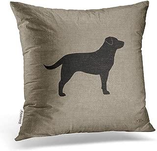 Emvency Throw Pillow Covers Black Labrador Silhouette Faux Style Decor Pillowcases Polyester 18 X 18 Inch Square Hidden Zipper Home Cushion Decorative Pillowcase