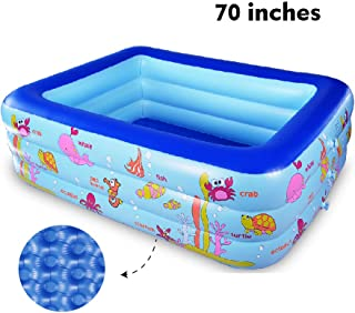 Inflatable Family Swimming Center Pool with Inflatable Soft Floor, 70 inches Ocean World Kids Swimming Pool