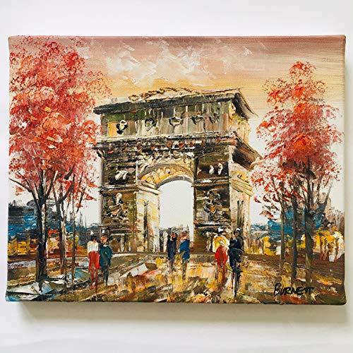 Vianaya - Quadro su tela Parigi - dipinto a mano e a olio - motivo Arco di Trionmphe, misura media, 20 x 25 cm _ su telaio in legno rigido