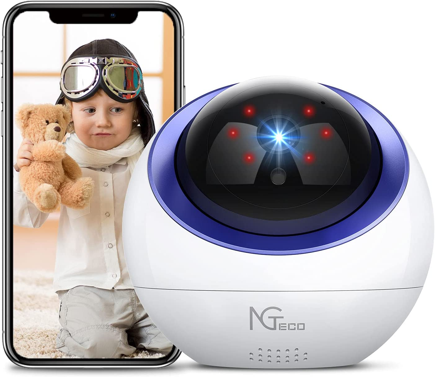 Baby Monitor, NGTeco WiFi Pet Camera Wireless for Home Security, 1080P Pan Tilt Cam Indoor IP Nanny Camera with Night Vision,2-Way Audio,Motion Detection,24/7 Live Video