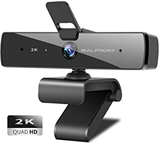 2K Webcam with Microphone & Privacy Cover, Walfront QHD Web Camera for Computer Desktop Laptop, 95° Wide Angle USB Streaming Webcam Plug and Play, Multi-Compatible for Video Conference Recording