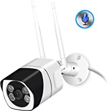 Outdoor WiFi Security Camera, 1080P Wi-Fi IP Camera Two Way Audio Motion Detection Remote Viewing FTP Onvif Night Vision IP66 Waterproof Bullet Surveillance CCTV Cam Support Max 128G SD Card(NO Card)