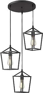 Emliviar 3-Light Cluster Pendant Lighting, Industrial Kitchen Island Light, Black Finish, 20065D-3 BK