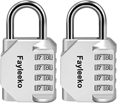 Combination Lock, 2 Pack, 4 Digit Combination Padlock for School Gym Sports Locker, Fence, Toolbox, Case, Hasp Cabinet Storage, Silver)
