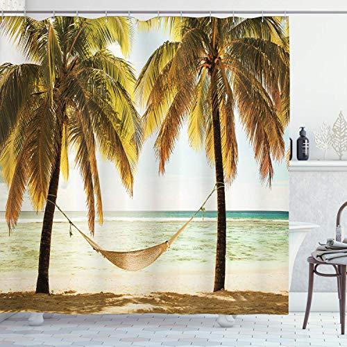 ASDAH 48x72inch strand hangmat decor douchegordijn zeegezicht hangmat palmbomen op Shore tropische strand zonsondergang foto polyester stof badkamer set met haken Ecru