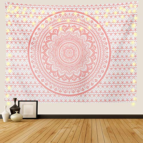 Ftuency Pink Mandala Tapestry, Indian Hippie Bohemian Psychedelic...
