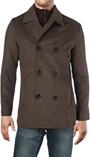 Kenneth Cole REACTION Mens Winter Wool Blend Pea Coat Brown L