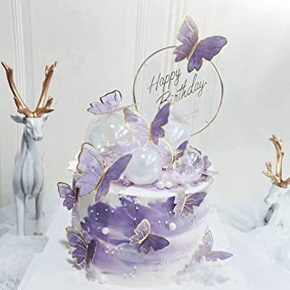 22Pieces Purple Gold Butterfly Cake Toppers Happy Birthday Metal Happy Birthday Cake Topper Butterfly Birthday Cake Decora...