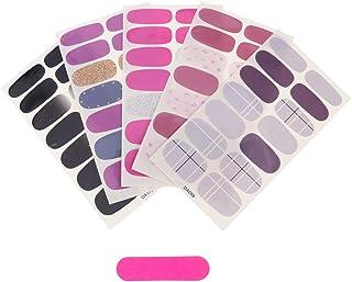 Lurrose 6 peças envoltórios de unha completos adesivos adesivos de esmalte para meninas e mulheres faça você mesmo