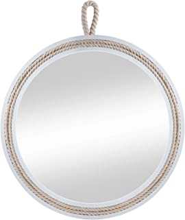 Decor Trends 11.4'' Beautiful Nautical White Wooden Framed Round Decorative Wall Mirror,Small Round Hanging Wall Mirror for All Occasions
