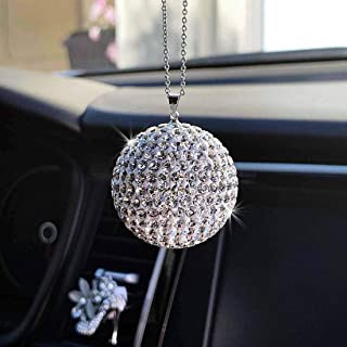 JJMY Bling Car Accessories, Car Bling Decoration Crystal Ball Car Rear View Mirror Charm Bling Decor Crystal Rhinestone Ca...