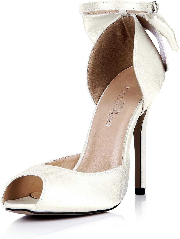 DolphinGirl Women Fashion Pearl White Peep Toe 12CM High Heels Bowtie Patent Silk Like Material Stiletto shoes SM00108