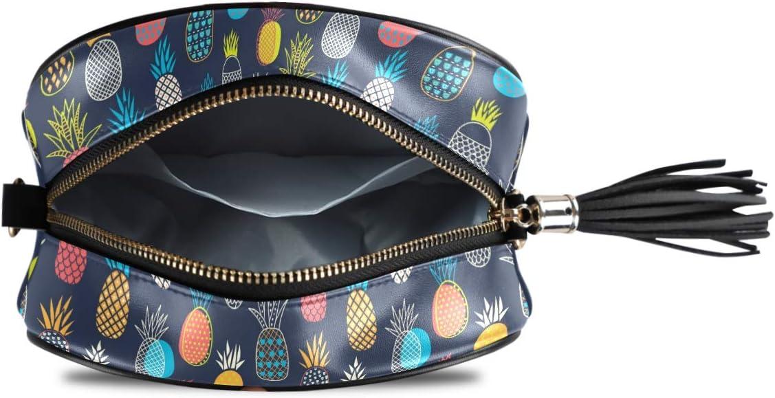 ALAZA Women's Colorful Pineapples Cross Body Bag Chain Shoulder Handbag Purse with Tassel