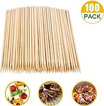 SRXING Bamboo Skewers,Kebab Sticks,Wooden Skewers,Skewer Sticks,Short Skewers,Wooden Kebab Skewers -Skewers for Fruit Kabobs,Shish Kabob, Grill, Appetizer, CornMore Food(10-Inch(100pcs))