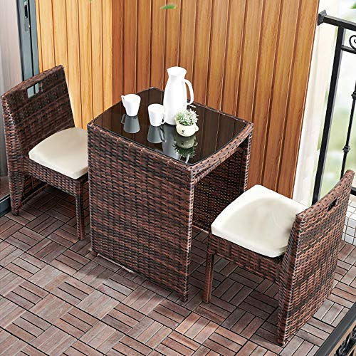 Tremendous Dlandhome 3 Pieces Patio Furniture Patio Wicker Rattan Sofa Chairs And Table Sectional Set With Seat Cushion Ibusinesslaw Wood Chair Design Ideas Ibusinesslaworg