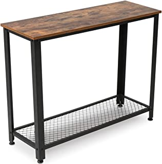 KingSo Industrial Sofa Table with Shelf, Vintage Rustic Console Side Table for Living Room Bedroom Entryway Study Balcony Hallway Workshop, Easy Assembly