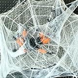 MAXEE Spinnennetz 2 Pcs(80G Weiß Baumwolle 20 Spinnen) Halloween Spinnennetz Spinnennetz Deko Halloween Dekoration Satz for Halloween Party - 5
