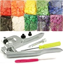 Original Commercial-Grade KAMsnaps Lead-Tested Starter Pack: 100 Size 20 T5 KAM Snaps Snap Press Pliers for Plastic Snaps No-Sew Buttons Fastener Setter Hand Tool (Rainbow White)