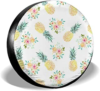 ZHXR Spare Tire Cover Tropical Pineapple and Flower Universal Sunscreen Covers for Jeep Trailer RV SUV Truck and Many Vehi...
