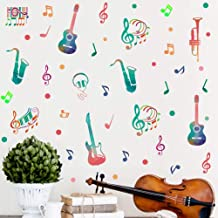 IARTTOP Colorful Music Wall Decal (45pcs), Attractive Musical Note with Saxophone Guitar Sticker for Classroom Music Studio Decoration