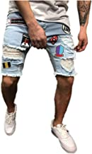 ALOVEMO Men Cotton Distressed Denim Shorts Ripped Jeans Casual Holes Pants Summer Short 2019